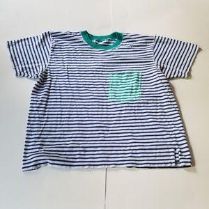 Vintage | Striped Color Block Pocket T Blue Green